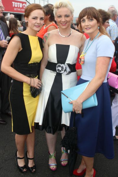 Dion and Petrina Comerford and Carol Wrenn Guiney, Listowel, enjoying Ladies Day at Listowel Races on Friday. Photo by Dermot Crean