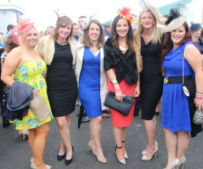 Ann Marie Butler, Jennifer Horgan, Ena Woulfe, Aine Lynch, all Ballybunion, Michelle O'Neill and Sinead O'Connor, Tralee, looking glamorous Ladies Day at Listowel Races on Friday. Photo by Dermot Crean