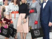 Grainne Greville (2nd runner-up), Elaine Moriarty (1st runner-up), Mary Houihan, winner of Best Dressed Lady. Pippa Ormond O'Connor (judge) and Daithi O Se (judge) in the parade ring after the result of the Ladies Day competition was announced. Photo by Dermot Crean