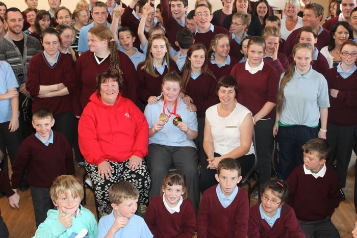 Winner of a Gold and a Silver medal at the 2014 European Summer Olympics in Belgium, Cliona Power, gets a heroes welcome at St Ita's and St Joesph school. Photo by Gavin O'Connor.