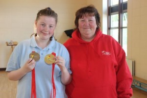 Cliona Palmer, shows off her European Special Olympics with her Mom, Pat Palmer. Photo by Gavin O'Connor.