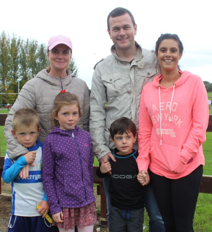 Enjoying the family day at Tralee Rugby Club family fun day were, from left, in front: Conor and Jessica McGibney and Caelen Tuite. Back Row: Una McGibney and John and Elana Tuite. Photo by Gavin O'Connor.