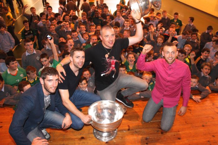 Killian Young, Marc O'Se, Kiaran Donaghy and Barry John Walsh in The Green C,B.S with Sam Maguire. Photo by Gavin O'Connor.