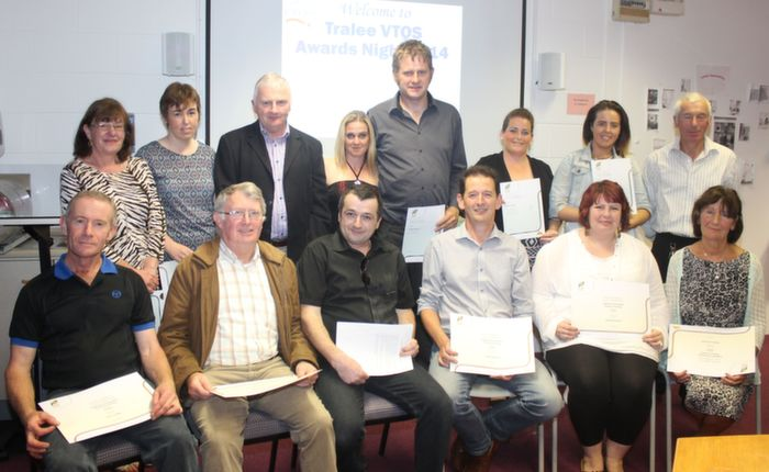 FETAC Level 4 graduates, front from left; Kevin Griffin, Eddie Riordan, Declan Looney, Louis Begley, Sarah Raymond and Fidelma Thornton. Back from left; Imelda Cooke Daly, Noreen Ashe, Tim Slattery, Margaret Russell, Thomas Walsh, Linda O'Brien, Libby Enright and Tom Reidy, at the VTOS annual awards ceremony on Thursday evening. Photo by Dermot Crean