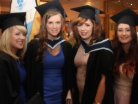 Anita Sheahan, Boherbue, Elaine Carroll, Sixmilebridge, Clare, Joanne Moynihan, Killarney who all received Bachelor of Arts in Early Childhood Care and Education degress and Carmel Drumm, Boherbue, Bachelor of Arts in Social Care, at the ITT graduation ceremony in The Brandon Hotel on Friday morning. Photo by Dermot Crean
