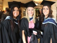 Laura Mullane, Limerick, Shauna Kelly, Ballymac and  Christine Collins, Gneeveguilla, who all qualified in Early Childcare and Education at the IT Tralee graduation ceremony on Friday. Photo by Dermot Crean