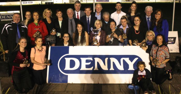 The Tralee Dynamos ladies team that won the, Denny Ladies Reserve Cup, with John Delaney and John Giles. Photo by Gavin O'Connor.