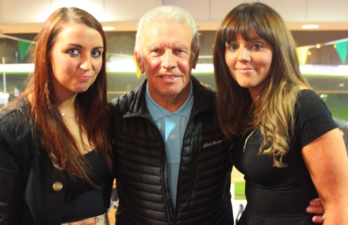 With John Giles at the KDL awards night on in the Kingdom Greyhound Stadium were, Aideen O'Donovan and Louise Clifford. Photo by Gavin O'Connor.