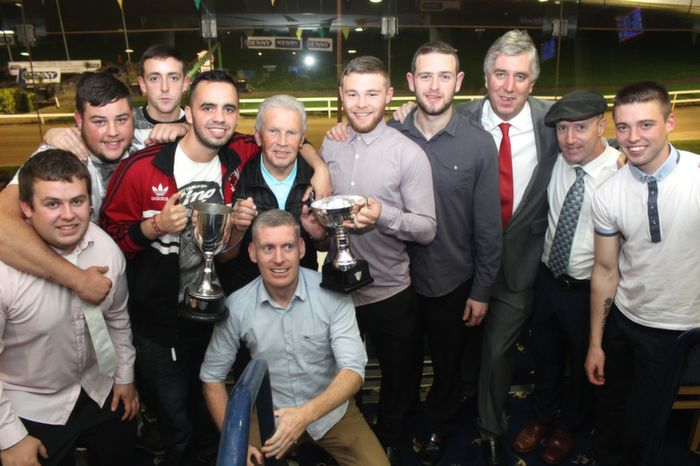 Some of the, Mitchels Avenue, team which won the, Tommy Healy Memorial Cup and the Dominos Reserve Cup, with John Giles, John Delaney and Micheal Healy Rea. Photo by Gavin O'Connor.