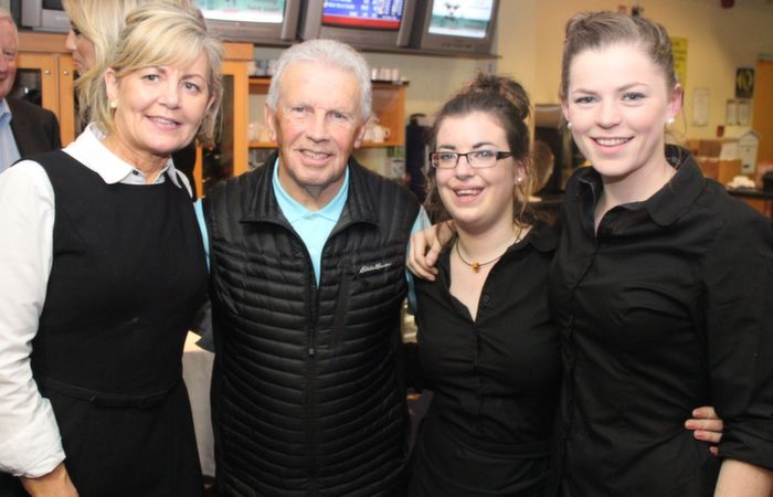 With John Giles at the KDL Awards night and fundraiser on in the Kingdom  Greyhound Stadium were, Ina O'Leary, Caroline O'Carroll and Maria Quirke. Photo by Gavin O'Connor.