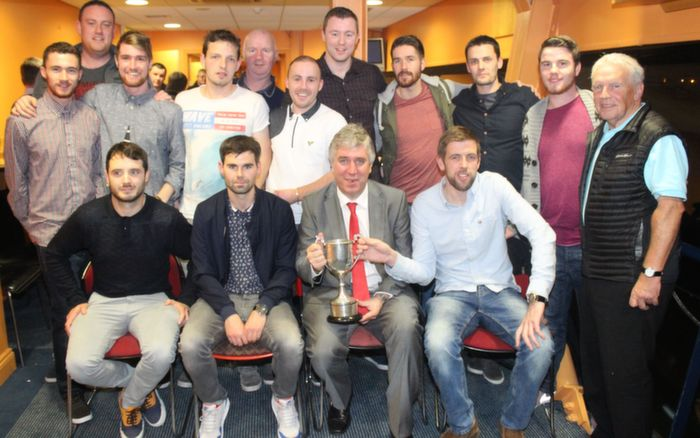 The victorious Tralee Athletic team who won the Celsius Cup, with John Delaney and John Giles. Photo by Gavin O'Connor.