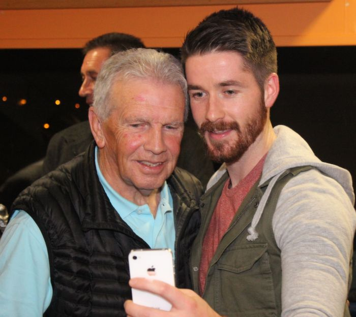 Joe Kinsella of Tralee Athletic nabs a selfie with John Giles. Photo by Gavin O'Connor.