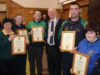 Representatives of the five Kerry Special Olympics clubs, with Mayor of Kerry, John Brassil at the Special Olympics civic reception in Kerry County Council buildings were, From left: Cliodhna Palmer, Eoin O'Sullivan, Cllr John Brassil, Brendan O'Sullivan and Bronagh Enright. Photo by Gavin O'Connor.