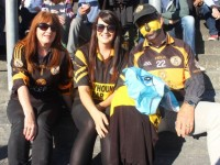 Deirdre, Karina and Kevin O'Carroll at the Austin Stacks v Dingle match on Sunday. Photo by Dermot Crean