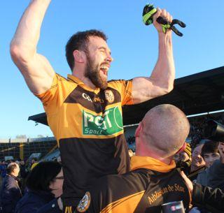 Kieran Donaghy and Daniel Bohane celebrate after their Munster final victory. Photo by Dermot Crean