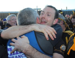 Mikey Collins and Stephen Stack celebrate after the game. Photo by Dermot Crean