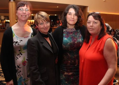 Jackie McSweeney, Ballyduff, Jackie Bishop, Listowel, Camelia Draghici and Siobhan Feely, Tralee at the 'Take Me Out' night in aid of Ballyduff Buds Family Resource Centre at Ballyroe Heights Hotel. Photo by Dermot Crean
