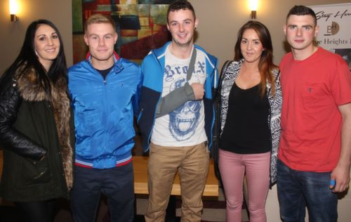 Pari Garcia, Kenny Walz, Mark O'Regan, Clarissa Garcia and Alex Kenny at the 'Take Me Out' night in aid of Ballyduff Buds Family Resource Centre at Ballyroe Heights Hotel. Photo by Dermot Crean