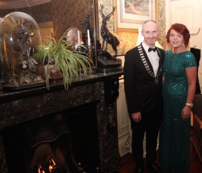 President of Tralee Rotary Club, Derry O'Sullivan and wife Brigeen at the Rotary Club Gala Ball in Ballyseede Castle Hotel on Friday  night. Photo by Dermot Crean