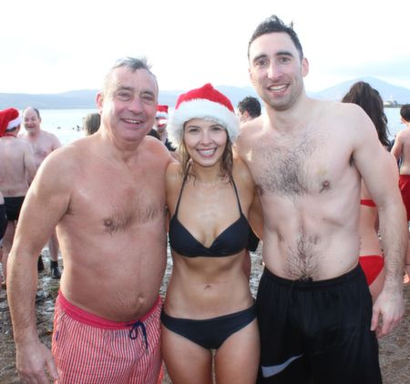 Ogie Moran, Sinead Keane and Brian Moran after the   Christmas Day Swim in Fenit. Photo by Dermot Crean