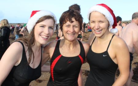 Margaret Garvey with Emer and Deirdre Hogan  the Christmas Day Swim in Fenit. Photo by Dermot Crean