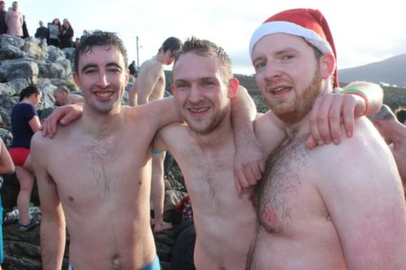 Stephen Walsh, Dan Kerins and Tim Daly after the Christmas Day Swim in Fenit. Photo by Dermot Crean