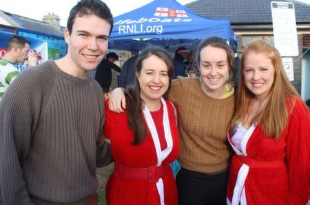 Jack O'Connor, Linda Browne, Aisling Carney and Susan Browne before the Christmas Day Swim in Fenit. Photo by Dermot Crean
