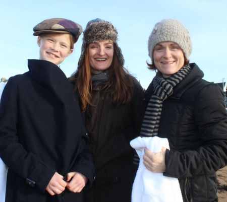Shannon Damgaard, Siobhan O'Connor and Ciara   Damgaard at the Christmas Day Swim in Fenit. Photo by Dermot Crean