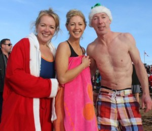 Margaret Savage Bell, Fiona Gaudino and Paul Savage about to take the plunge at the Christmas Day Swim in Fenit. Photo by Dermot Crean