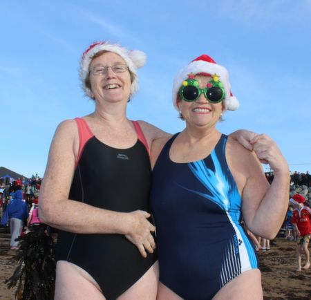 Liz O'Connell, Oakview and Marie Stynes, Oakpark, at the Christmas Day Swim in Fenit. Photo by Dermot Crean