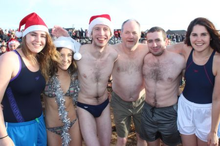 Paula Fitzgerald, Maeve Brosnan, Brendan O'Connell, Paul Prendergast, James O'Connell and Jean Fitzgerald at the Christmas Day Swim in Fenit. Photo by Dermot Crean
