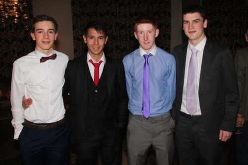 At the Kerry Hurling Awards Night, held in the Fels Point Hotel were, from left: Jordan Conway, Adrian O'Mahony, Steven Murphy and Tom McElligott. Photo by Gavin O'Connor.
