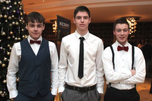 At the Kerry Hurling Awards Night, held in the Fels Point Hotel were, from left: Dara Ryan. MicHeal Leen and Dara Dineen. Photo by Gavin O'Connor.