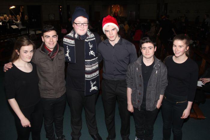 At a Mercy Mounthawk Christmas Carol on in St Brendan's Church were, from left: Aoibhinn O'Brien, David Corkery, Mark Maloney, Giles Appleby, Ryan O'Sullivan and Sinead Ryan. Photo by Gavin O'Connor.