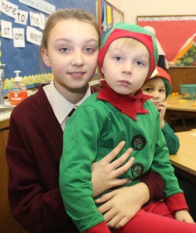 Benita with her brother Paulis Sabalauskaite before the Moyderwell Christmas Concert on Friday morning. Photo by Dermot Crean