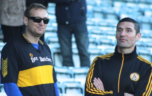 Seamus Smith and Wayne Quillinan in pensive mood during the half-time break at Pairc Ui Chaoimh on Sunday. Photo by Dermot Crean