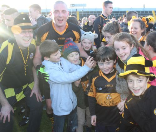 Kieran Donaghy poses for photos after the game on Sunday. Photo by Dermot Crean