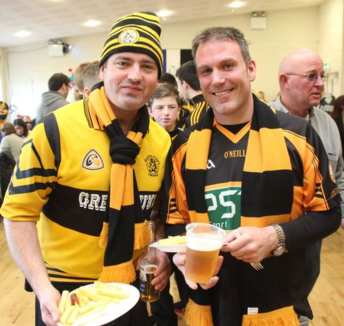 Tim O'Rourke and Eric Knott at the Cork Constitution Rugby Club prior to the match on Sunday. Photo by Dermot  Crean