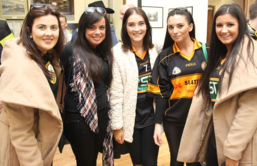 Bernie O'Connor, Lorraine Counihan, Sarah Hobbert, Nicole Roche and Kaylee Quirke at the Cork Constitution Rugby Club prior to the match on Sunday. Photo by Dermot  Crean