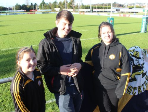 Niamh Collins, Daniel Teahon and Karen O'Brien at the Cork Constitution Rugby Club prior to the match on Sunday. Photo by Dermot  Crean