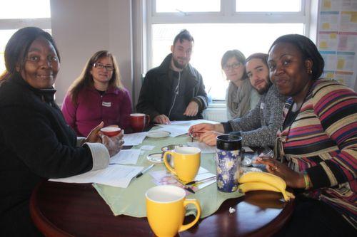 At the coffee morning in TIRC to mark world human rights day were from left: Dorcas Mudamvanji, Barbara Larkin, Damian Slattery, Desarea Waosink, Emi Lagunni and Bimpe Obadina. Photo by Gavin O'Connor.