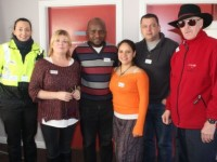 At the coffee morning in TIRC to mark world human rights day were from left:  Garda Irene Riordan, Gillian Wharton Slattery, Paul Abraham, Mayrinfer Zambrano, Jonq Ovibo and James Mekile. Photo by Gavin O'Connor.