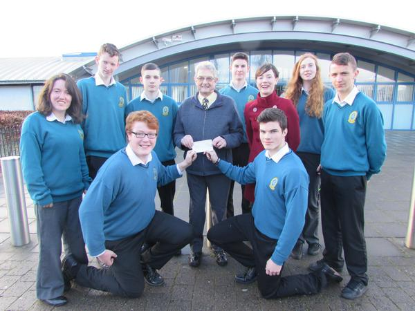 At the cheque handover from money raised by the Mercy Mounthawk, Students v Teachers, Mark Maloney,Giles Appleby  Back Megan Kennedy, Gavin Kennedy,Keith O'Flaherty,Ted Moynihan,Kerry Hospice,Olivia Dineen (teacher), Michael Daly,Mary Ann Sullivan, Donagh O'Brien