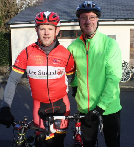 Kenneth Leahy and Kevin Boyle at the start of the Jimmy Duffy Memorial Cycle on Saturday morning. Photo by Dermot Crean