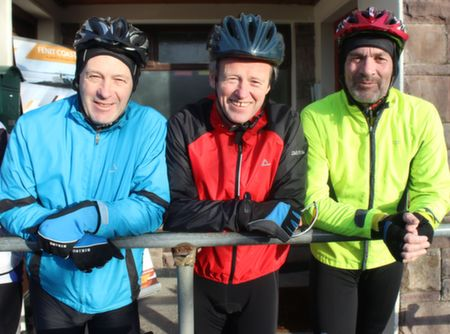 Mike Halloran, Frank O'Connor and Peter Nolan at the start of the Jimmy Duffy Memorial Cycle on Saturday morning. Photo by Dermot Crean