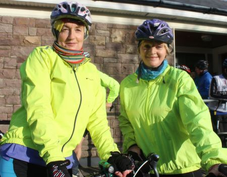 Marie O'Connell and Miriam Pope at the start of the Jimmy Duffy Memorial Cycle on Saturday morning. Photo by Dermot Crean