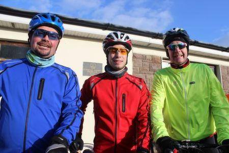 Terence, Ross and Denis Culloty at the start of the Jimmy Duffy Memorial Cycle on Saturday morning. Photo by Dermot Crean