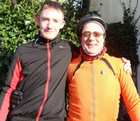 Cillian Quirke and Thomas Ashe at the start of the Jimmy Duffy Memorial Cycle on Saturday morning. Photo by Dermot Crean
