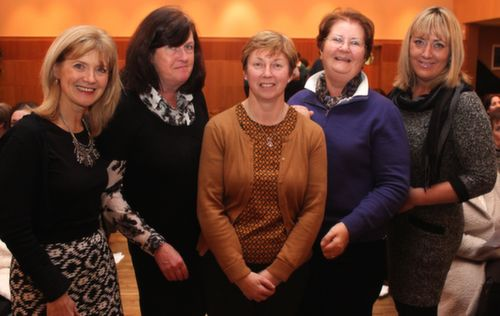 At the Mercy Mounthawk, Mark Doe cookery demonstration were, from left:  Geraldine Gannon, Helen Rusk, Mauread O'Shea, Helen Lyons and Helen O'Connor. Photo by Gavin O'Connor.