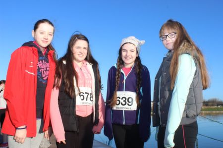 Emma Lynch, Isabella Flamini, Sorcha Ringland and Clodagh O'Sullivan before the start of the Tralee Musical Society 5k Run from Tralee Wetlands on Sunday morning. Photo by Dermot Crean